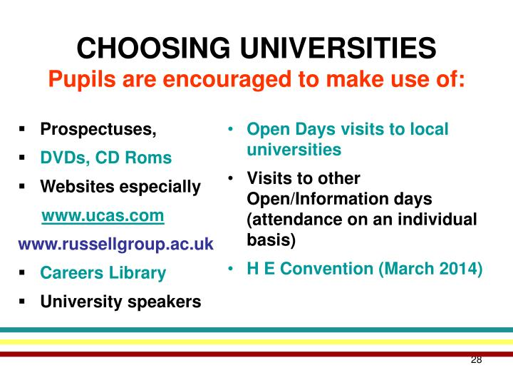 Open Days visits to local universities