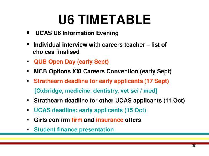 U6 TIMETABLE