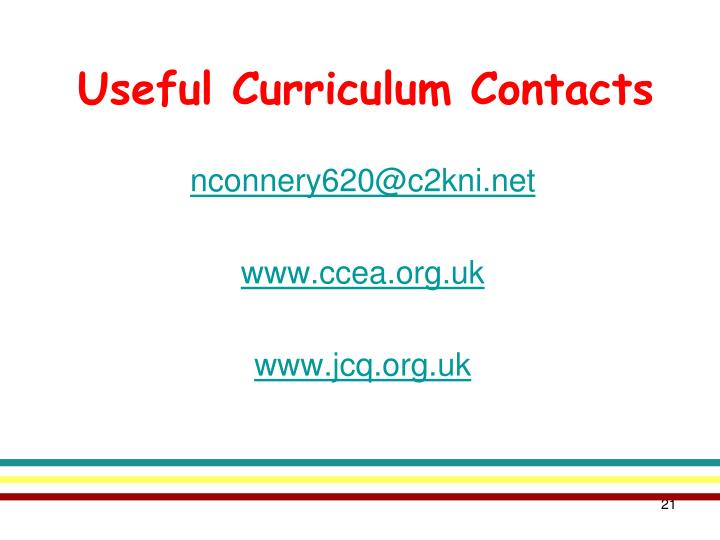 Useful Curriculum Contacts