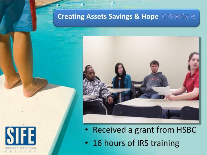 Creating Assets Savings & Hope