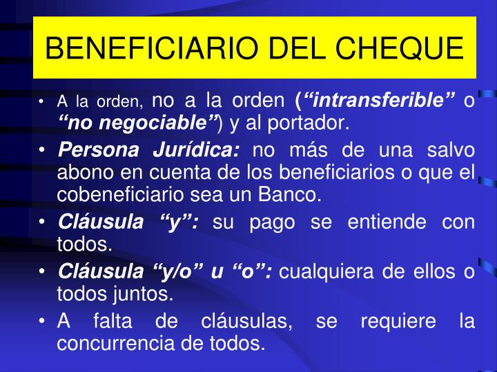 BENEFICIARIO DEL CHEQUE