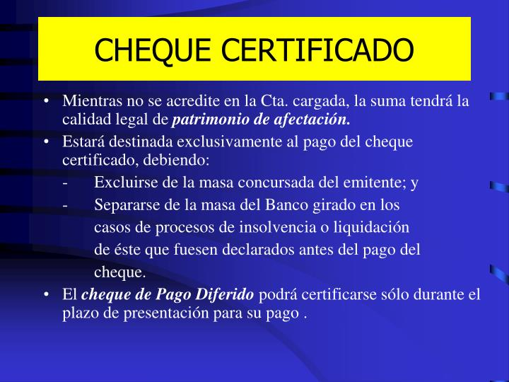CHEQUE CERTIFICADO
