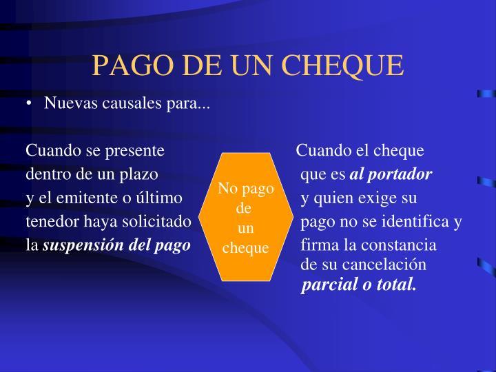 PAGO DE UN CHEQUE