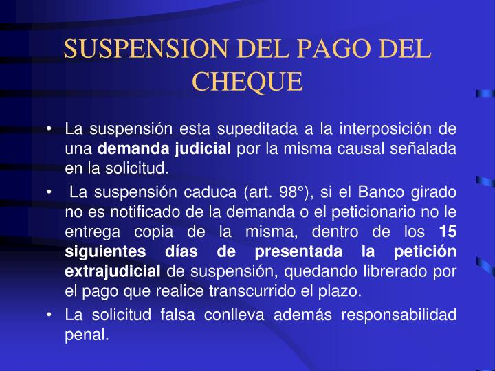 SUSPENSION DEL PAGO DEL CHEQUE