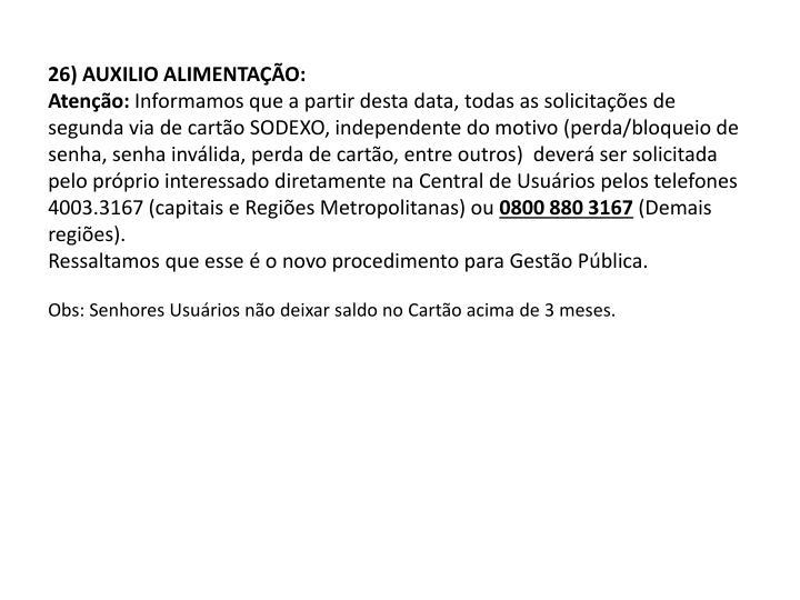 26) AUXILIO ALIMENTAÇÃO: