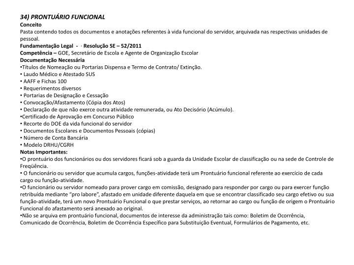 34) PRONTUÁRIO FUNCIONAL