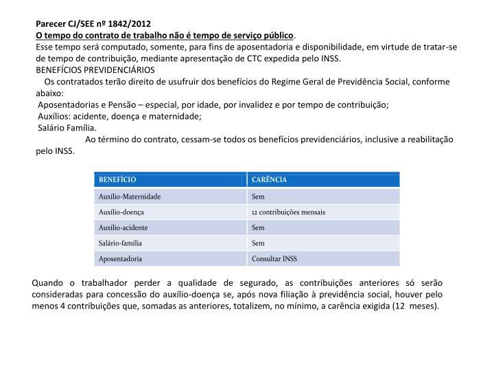 Parecer CJ/SEE nº 1842/2012