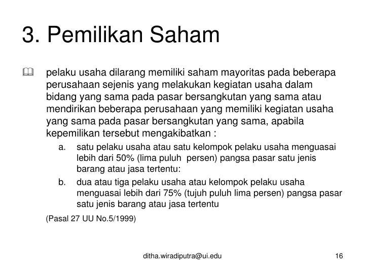 3. Pemilikan Saham