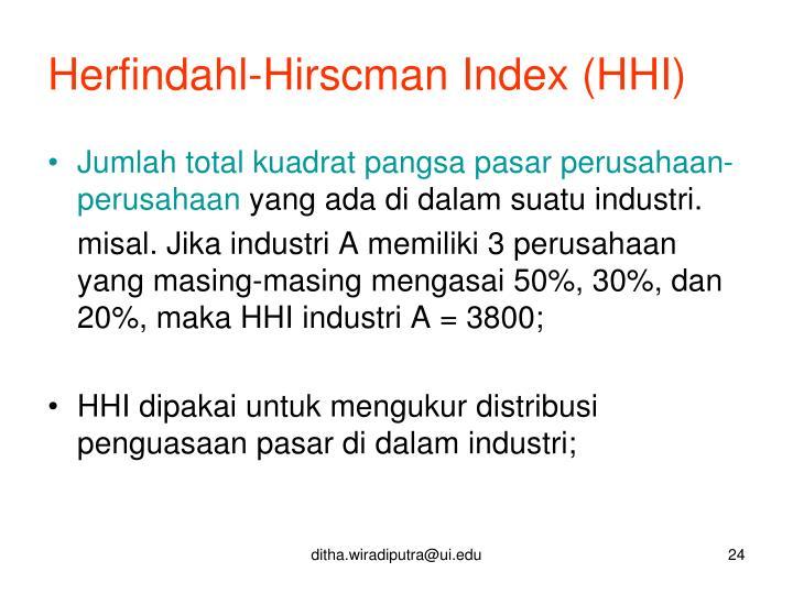 Herfindahl-Hirscman Index (HHI)