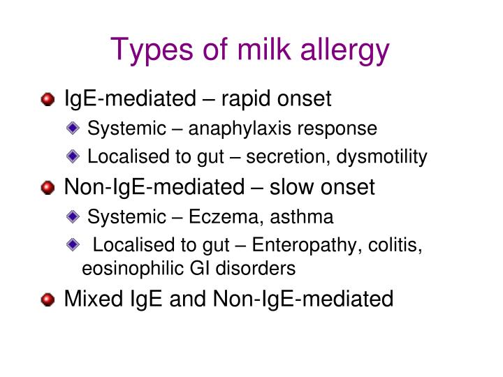 Types of milk allergy