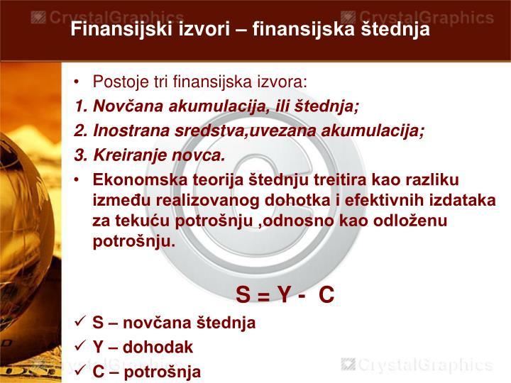Finansijski izvori – finansijska štednja