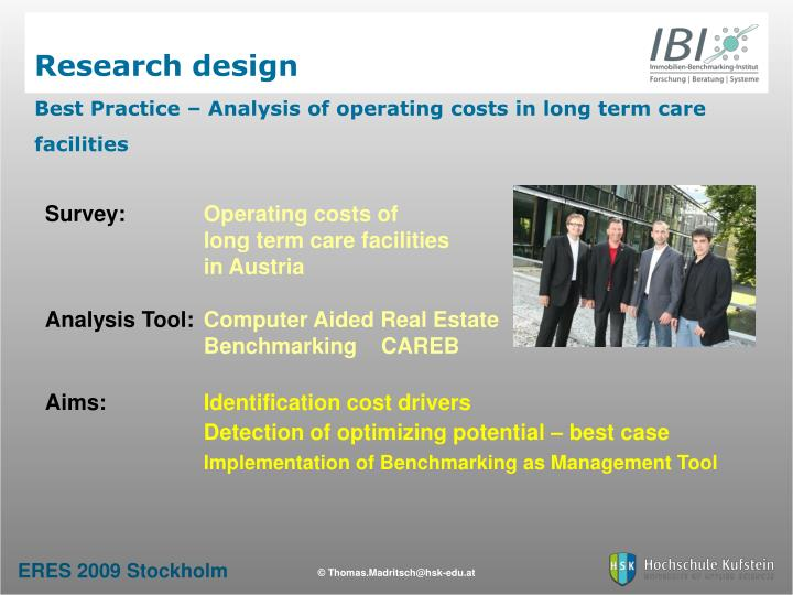 Research design best practice analysis of operating costs in long term care facilities