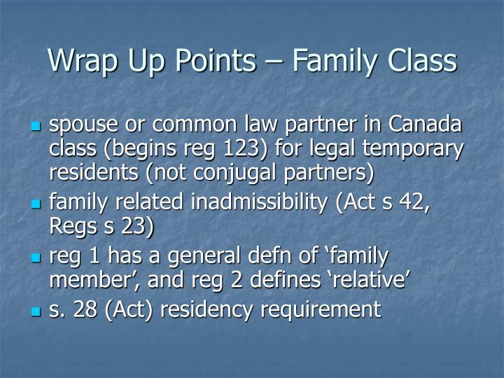 Wrap Up Points – Family Class