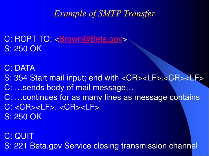 Example of SMTP Transfer