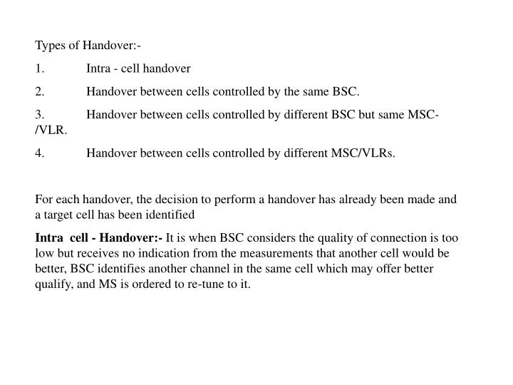 Types of Handover:-