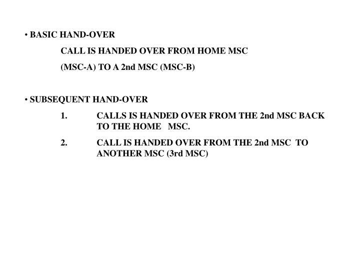 BASIC HAND-OVER
