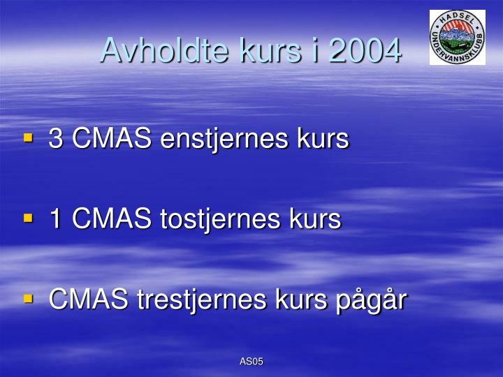 Avholdte kurs i 2004