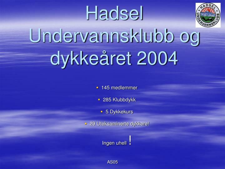 Hadsel Undervannsklubb og dykkeåret 2004