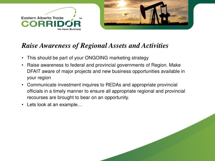 Raise Awareness of Regional Assets and Activities