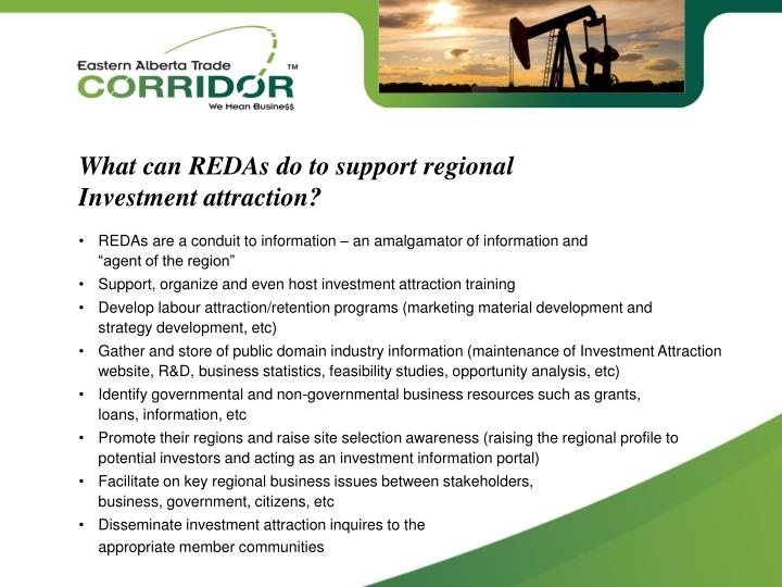 What can REDAs do to support regional