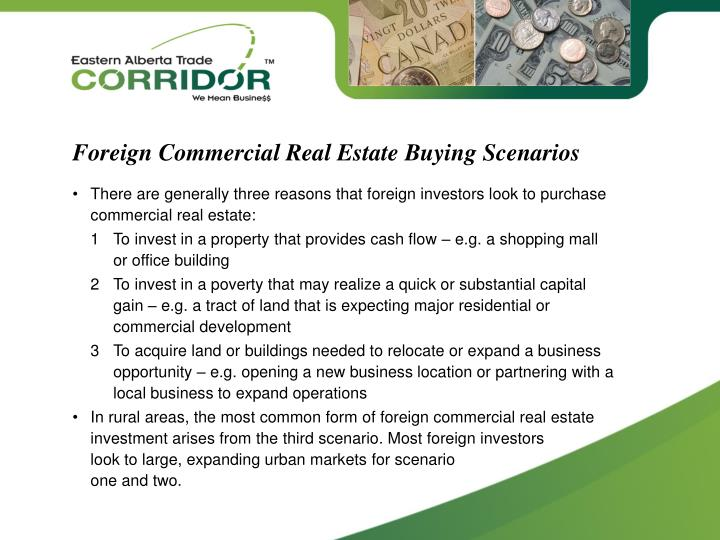 Foreign Commercial Real Estate Buying Scenarios