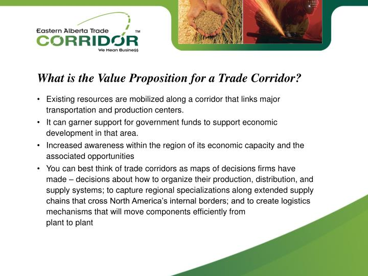What is the Value Proposition for a Trade Corridor?