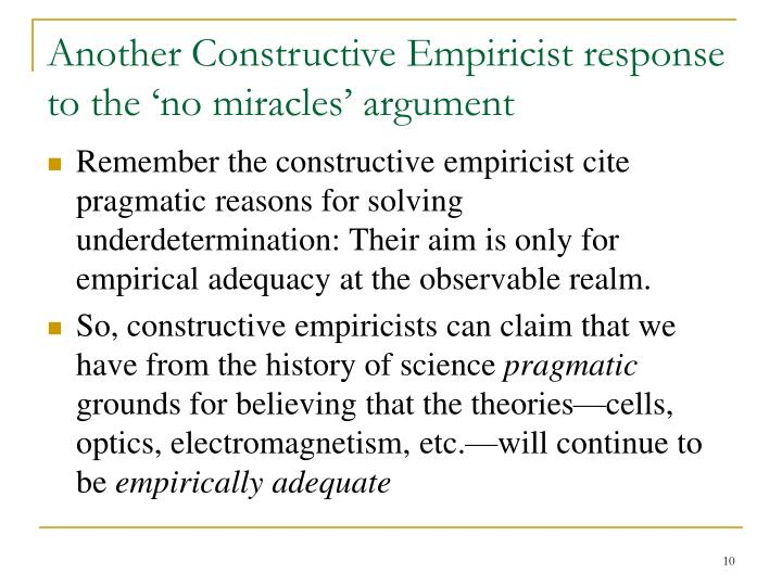 Another Constructive Empiricist response to the 'no miracles' argument