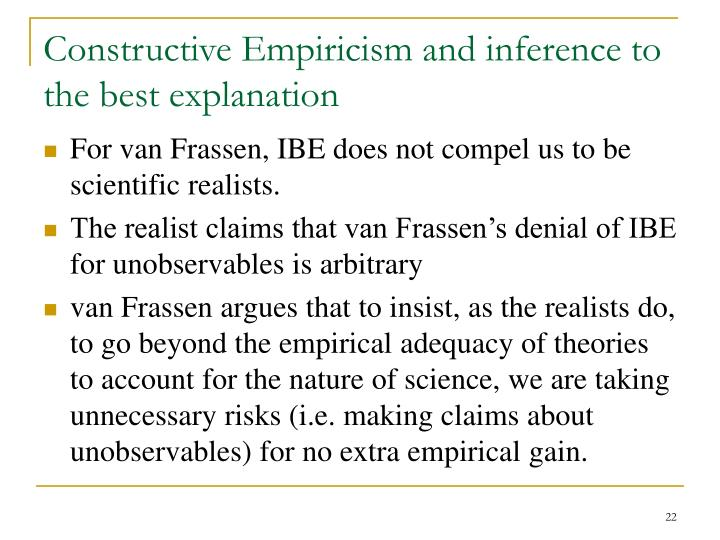 Constructive Empiricism and inference to the best explanation