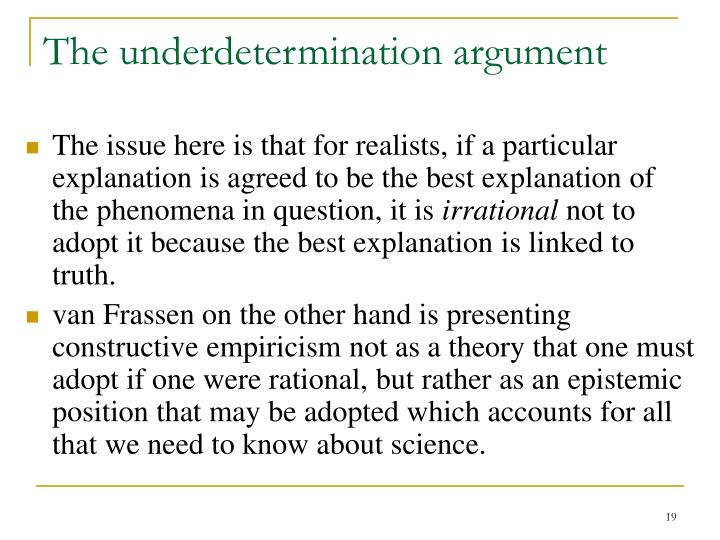 The underdetermination argument