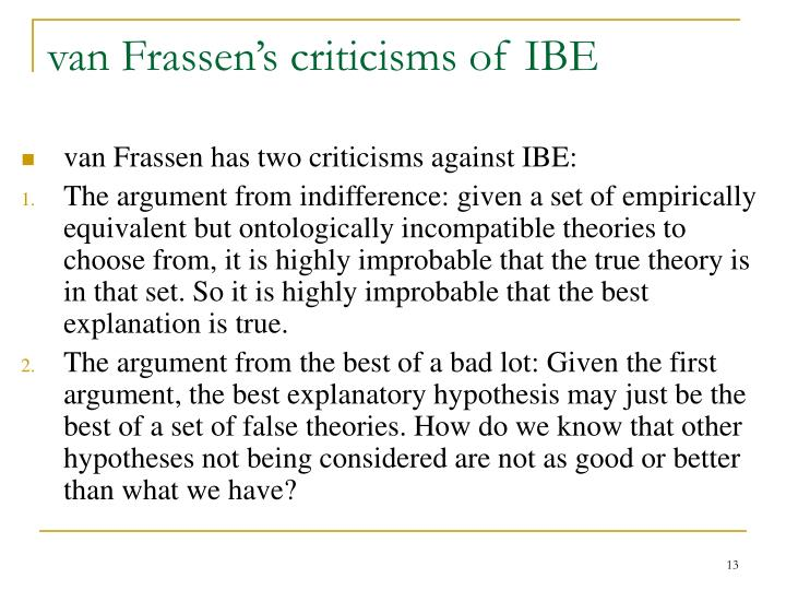 van Frassen's criticisms of IBE