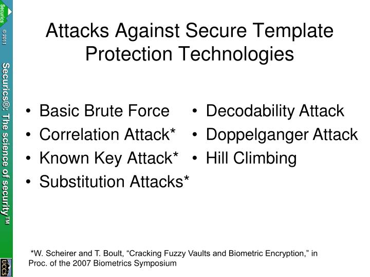 Attacks Against Secure Template Protection Technologies