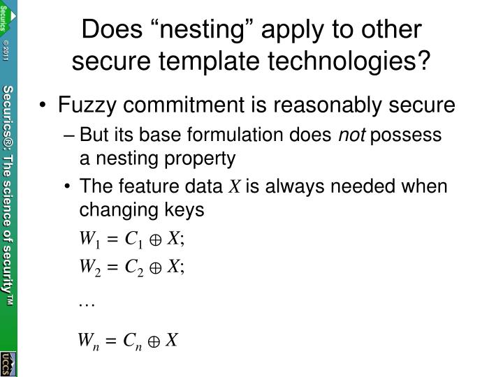 "Does ""nesting"" apply to other secure template technologies?"