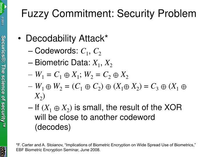 Fuzzy Commitment: Security Problem