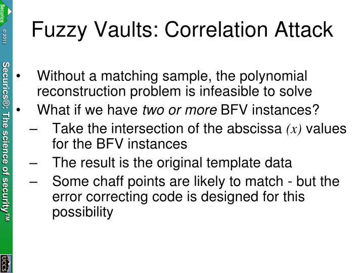 Fuzzy Vaults: Correlation Attack