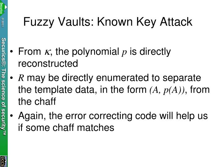 Fuzzy Vaults: Known Key Attack