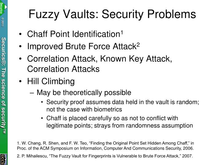 Fuzzy Vaults: Security Problems
