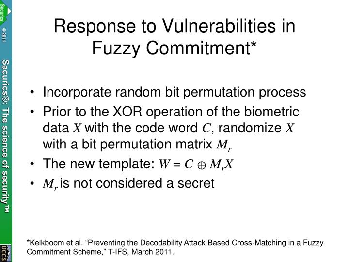 Response to Vulnerabilities in Fuzzy Commitment*