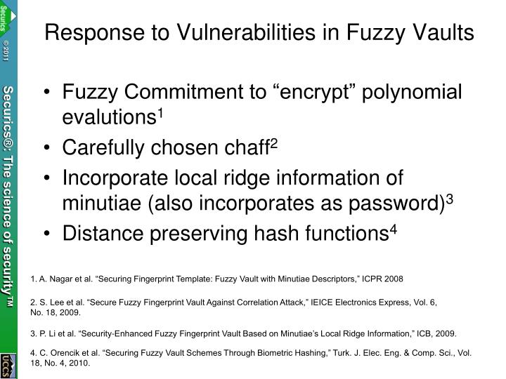 Response to Vulnerabilities in Fuzzy Vaults