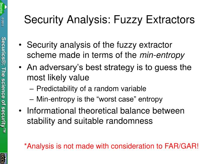 Security Analysis: Fuzzy Extractors