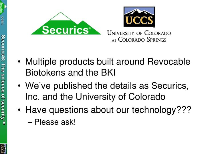 Multiple products built around Revocable Biotokens and the BKI