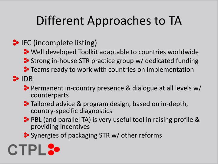 Different Approaches to TA