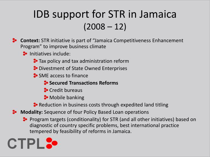 Idb support for str in jamaica 2008 12