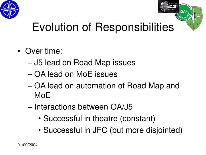 Evolution of Responsibilities