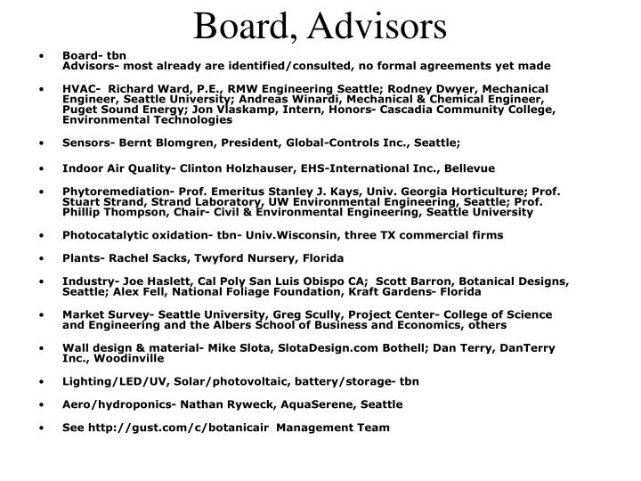 Board, Advisors