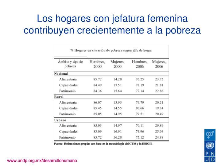 Los hogares con jefatura femenina contribuyen crecientemente a la pobreza