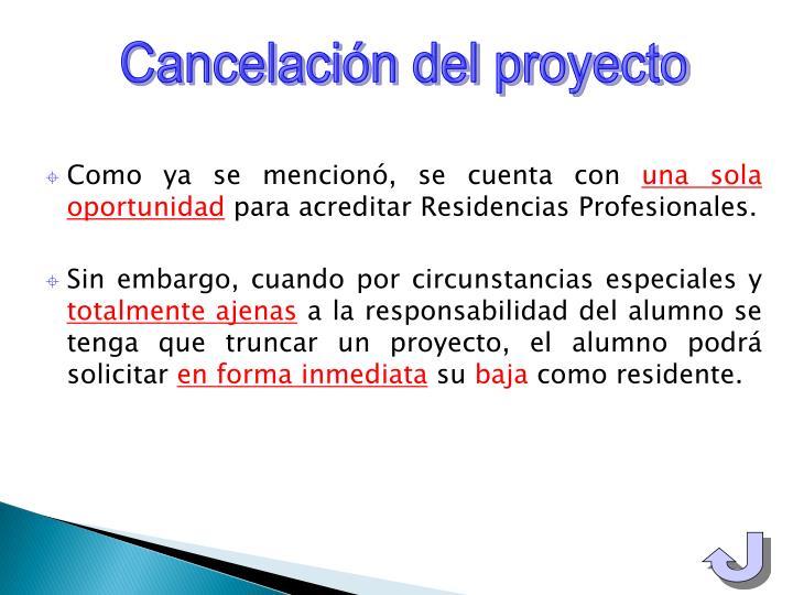 Cancelación del proyecto