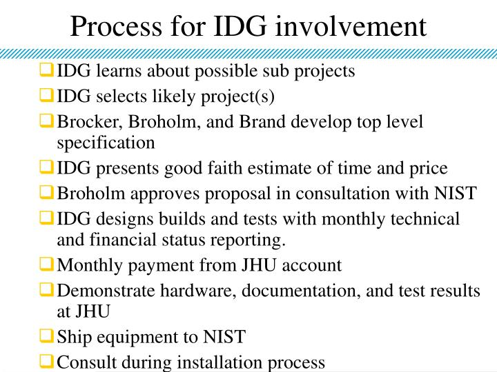 Process for IDG involvement