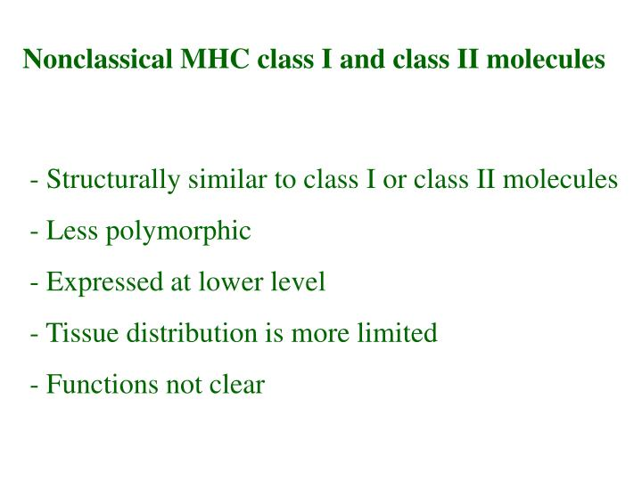 Nonclassical MHC class I and class II molecules