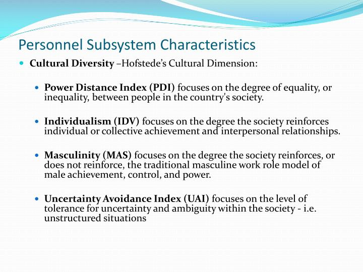 Personnel Subsystem Characteristics