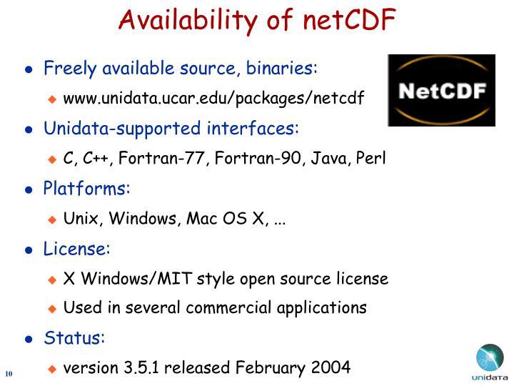 Availability of netCDF